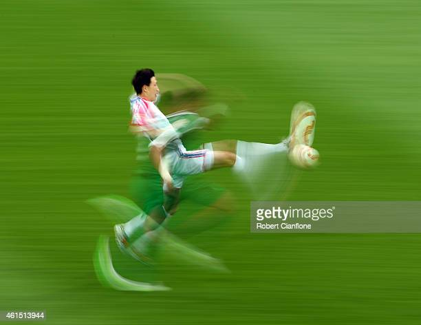 Jang KukChol of North Korea kicks the ball during the 2015 Asian Cup match between DPR Korea and Saudi Arabia at AAMI Park on January 14 2015 in...