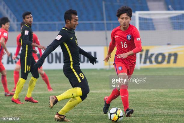 Jang YunHo of South Korea controls the ball during the AFC U23 Championship quarterfinal match between South Korea and Malaysia at Kushan Sports...