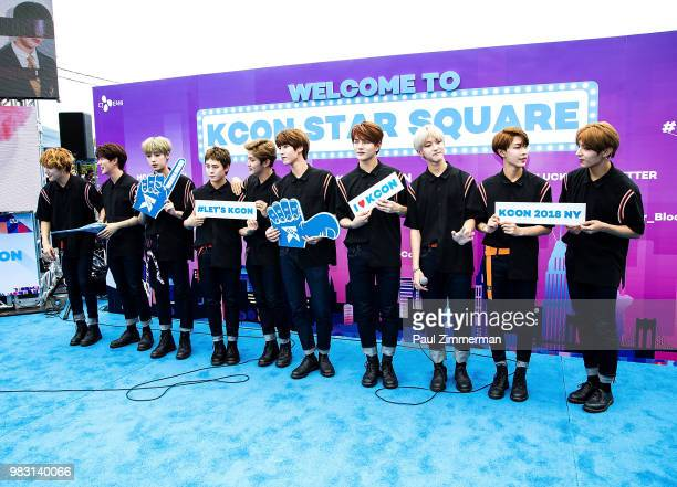 Jangjun Jibeom Daeyeol Seungmin Jaehyun Bomin TAQ Joochan Y and Donghyun of boy band Golden Child pose at KCON Day 2 2018 NY presented by Toyota at...