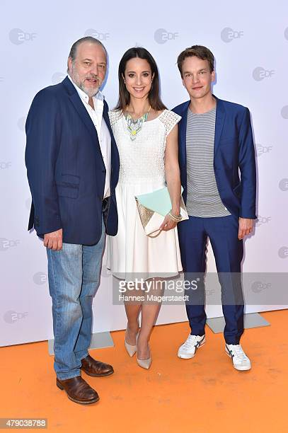 JanGregor Kremp Stephanie Stumph and Ludwig Blochberger attend the ZDF reception during the Munich Film Festival at Hugo's on June 30 2015 in Munich...