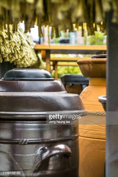 jangtokdae, traditional fermentation and storage container in korea - jong heung lee stock pictures, royalty-free photos & images