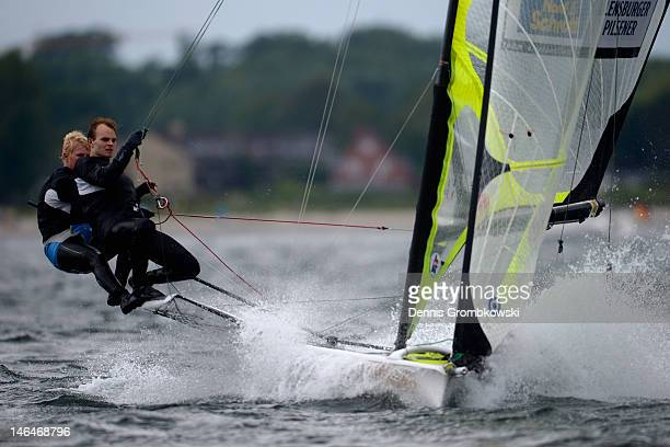 JanHauke Erichsen and Max Lutz of Germany compete in the Men's 49er race during day two of the Kieler Woche ISAF Sailing World Cup event at Schilksee...