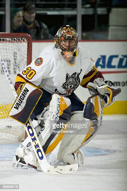 Jani Hurme of the Chicago Wolves tends goal against the Peoria Rivermen at Allstate Arena on December 11 2005 in Rosemont Illinois The Wolves won 41