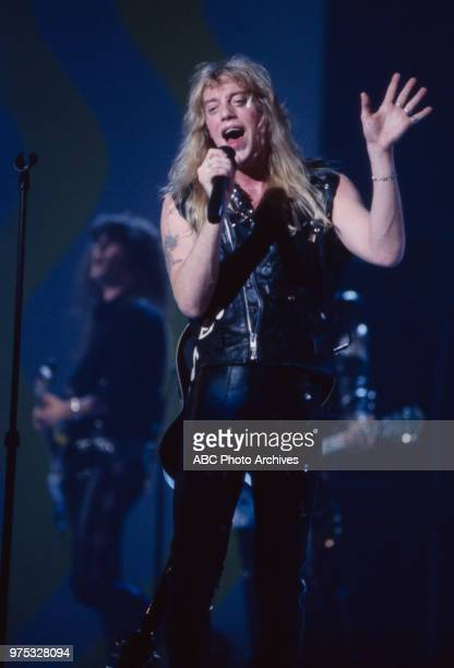 Jani Lane of Warrant performing on the 17th Annual American Music Awards Shrine Auditorium January 22 1990