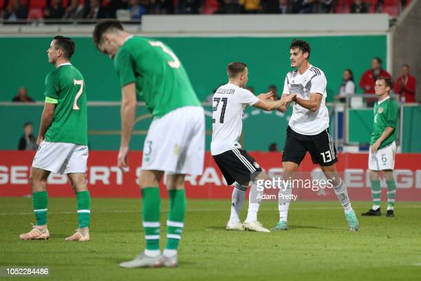 Jani Serra of Germany U21 celebrates with teammate Johannes Eggestein after scoring his team's first goal during the 2019 UEFA Under21 European...