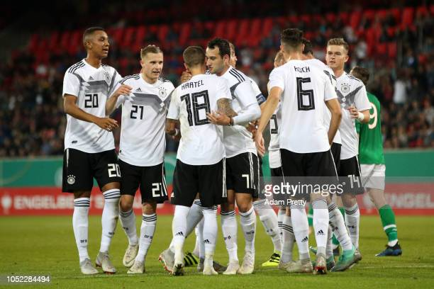 Jani Serra of Germany U21 celebrates with teammates after scoring his team's first goal during the 2019 UEFA Under21 European Championship Qualifier...