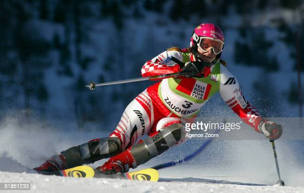 Janica Kostelic of Austria in action during the FIS Ski World Cup 2005 Women's Slalom event on December 12 2004 in Alternmarkt Austria