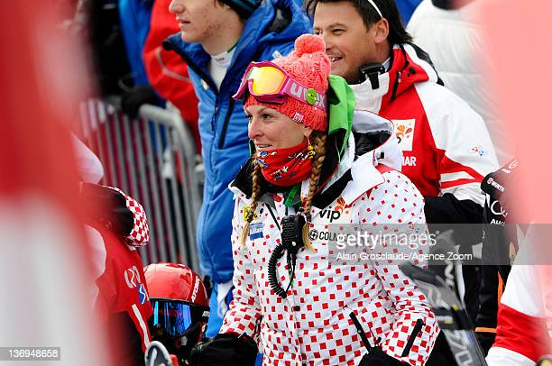Janica Kostelic of Croatia looks on during the Audi FIS Alpine Ski World Cup Men's Super Combined on January 13 2012 in Wengen Switzerland