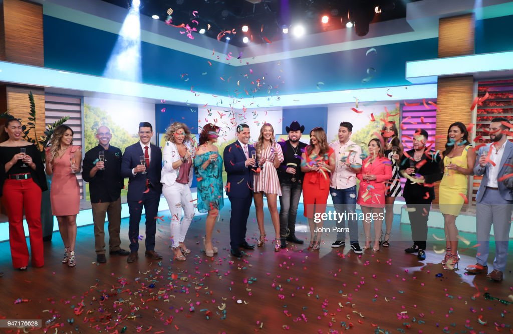 Janice Bencosme, Chef Eddie Garza, Marco Antonio Regil, Marjorie De Sousa, Roberto Tapia, Rashel Diaz, Chef James, Adamari Lopez, Erika Csiszer, Kevin Ortiz, Zuleyka Rivera, Francisco Caceres and Mario Vannicci are seen at Telemundo's 'Un Nuevo Dia' on April 16, 2018 in Miami, Florida.