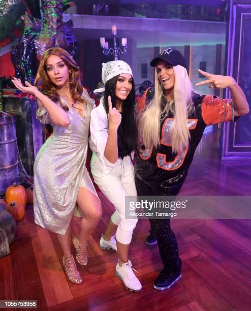 Janice Bencosme Erika Csizer and Rashel Diaz are seen dressed as Thalia Becky G and Jennifer Lopez on the set of Telemundo's Un Nuevo Dia Halloween...
