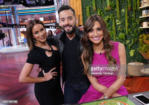 Janice Bencosme Francisco Caceres and Erika Csiszer are seen on the set of Un Nuevo Dia at Telemundo Center on September 13 2018 in Miami Florida