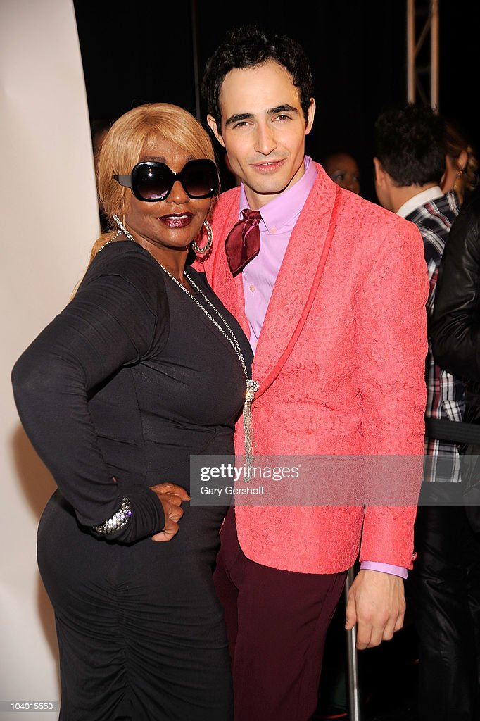 Janice Combs (L) and designer Zac Posen pose for pictures backstage after attending the Z Spoke by Zac Posen Spring 2011 fashion show during Mercedes-Benz Fashion Week at The Theater at Lincoln Center on September 11, 2010 in New York City.