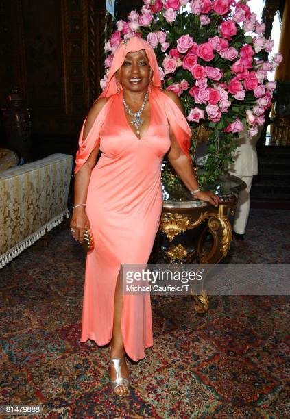 RATES Janice Combs poses during the wedding of Ivana Trump and Rossano Rubicondi at the MaraLago Club on April 12 2008 in Palm Beach Florida Cake...