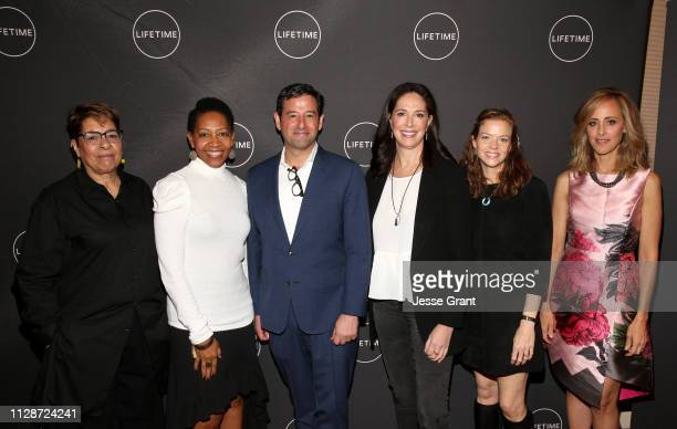 Janice Cooke Rhonda Baraka President of Programming at AE Networks Rob Sharenow Monika Mitchell Claire Scanlon and Kim Raver attend Lifetime's Female...