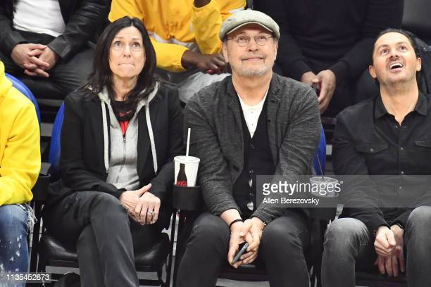 Janice Crystal and Billy Crystal attend a basketball game between the Los Angeles Clippers and Portland Trail Blazers at Staples Center on March 12...
