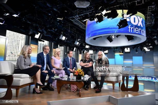 """Janice Dean, Steve Doocy, Ainsley Earhardt, Brian Kilmeade, Johnny Van Zant and Rickey Medlocke of Country Rock band Lynyrd Skynyrd present on """"Fox &..."""