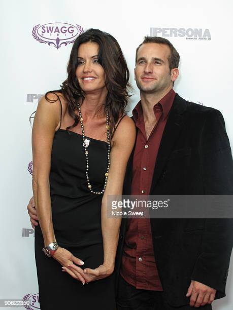 Janice Dickinson and guest attend the Persona magazine launch party at the The Griffin on September 11 2009 in New York City