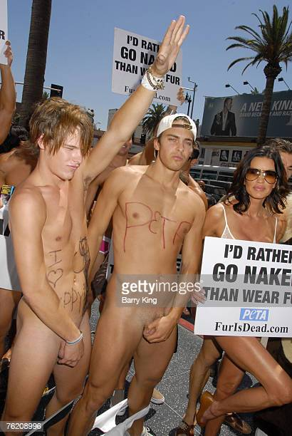 Janice Dickinson and models from her agency join PETA's 'Id Rather Go Naked Than Wear Fur' Protest held on the Hollywood Walk of Fame on August 20...