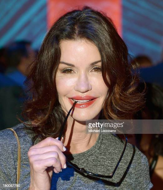 Janice Dickinson attends the Custo Barcelona fashion show during Mercedes-Benz Fashion Week Spring 2014 at The Stage at Lincoln Center on September...