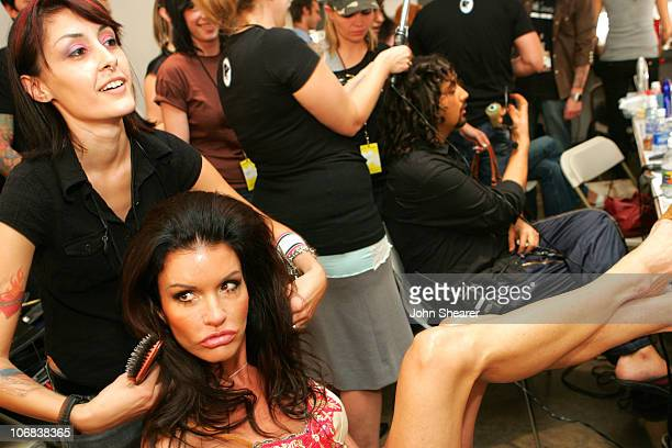 Janice Dickinson backstage at Meghan Spring 2006 hosted by Avo Yermagyan of Gaudy PR