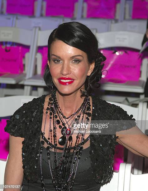 Janice Dickinson during Olympus Fashion Week Fall 2006 Betsey Johnson Front Row and Backstage at Bryant Park in New York City New York United States