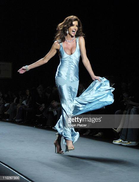 Janice Dickinson during Olympus Fashion Week Spring 2006 Fashion For Relief Runway at The Tents at Olympus Fashion Week in New York New York United...