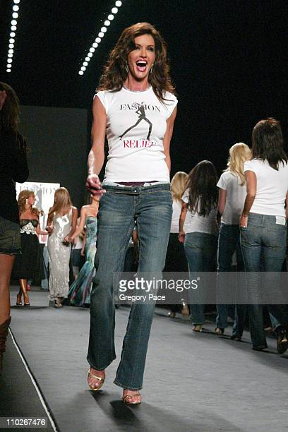 Janice Dickinson during Olympus Fashion Week Spring 2006 - Fashion For Relief - On the Runway at Bryant Park in New York City, New York, United...