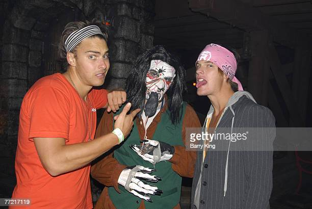 BUENA PARK CA OCTOBER 05 Janice Dickinson Modeling Agency Models Brian Kehoe and Grant Whitney Harvey visit Knott's Scary Farm's Halloween Haunt at...