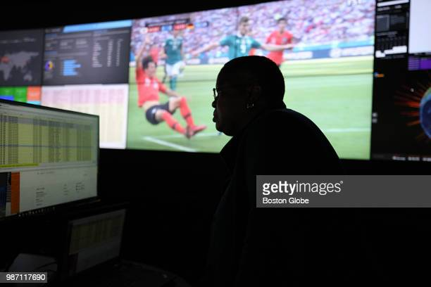 Janice Galloway keeps her eye on World Cup soccer at Akamai in Cambridge MA on June 28 2018 Fans around the world are depending on streaming video...