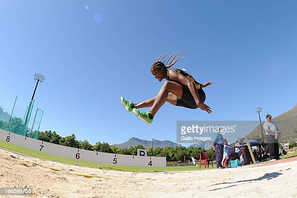 Janice Josephs in the women's long jump during day 2 of the SA Senior Championship from Coetzenburg Stadium on April 13 2013 in Stellenbosch South...