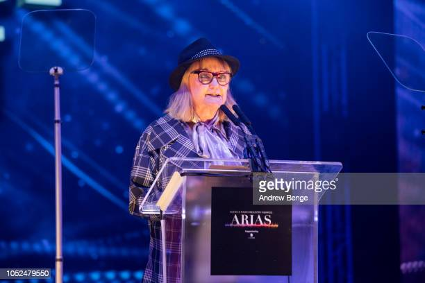 Janice Long presents and award at the Audio and Radio Industry Awards at First Direct Arena Leeds on October 18 2018 in Leeds England