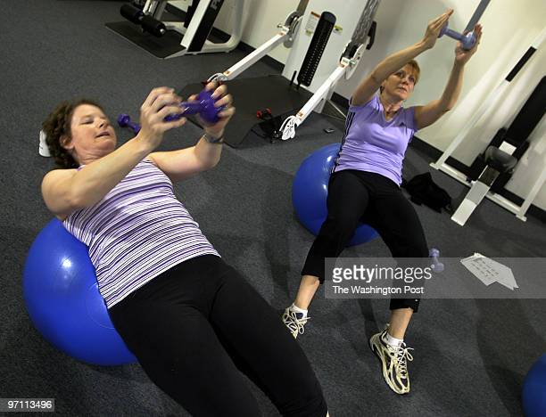 Janice Lynch Schuster with Susan Barner and others participate in a workout regimen that promises a bikini body in two weeks Schuster says that she...