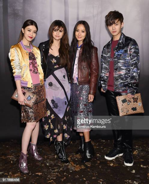 Janice Man Selena Gomez Aimee Yun Yun Sun and Allen Ren JiaLun attend the Coach Fall 2018 Runway Show at Basketball City on February 13 2018 in New...