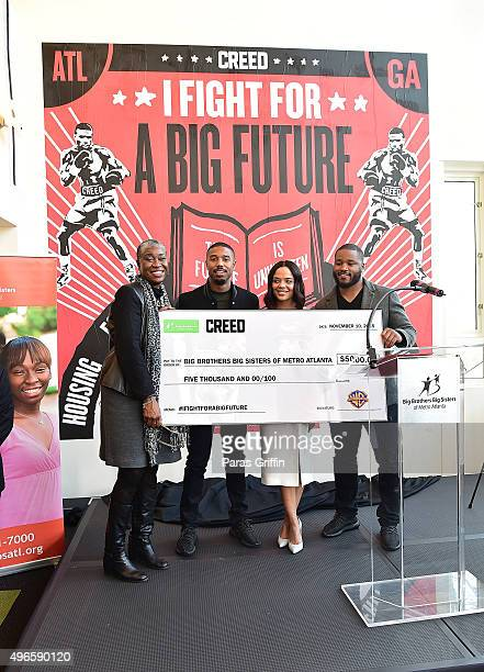 Janice McKenzieCrayton Michael B Jordan Tessa Thompson and Ryan Coogler attend Big Brothers Big Sisters 'I Fight For a Big Future' Mural Dedication...