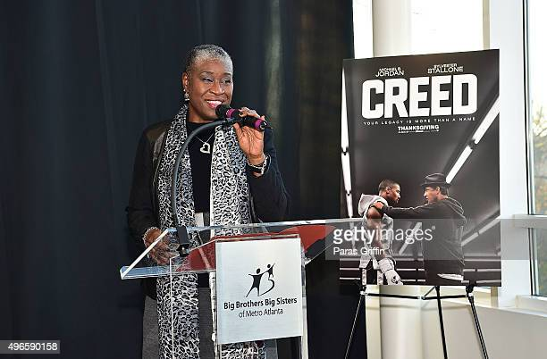 Janice McKenzieCrayton onstage at Big Brothers Big Sisters I Fight For a Big Future Mural Dedication at Big Brothers Big Sisters of Metro Atlanta on...