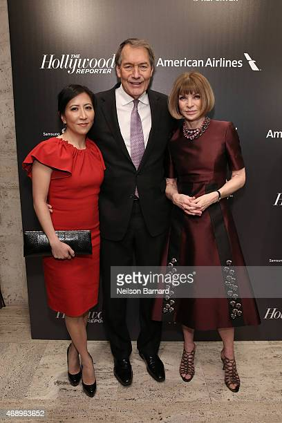 Janice Min Charlie Rose and Anna Wintour attend 'The 35 Most Powerful People In Media' celebrated by The Hollywoood Reporter at Four Seasons...