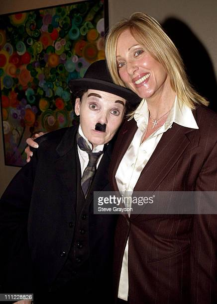 Janice Pennington and a Charlie Chaplin impersonator