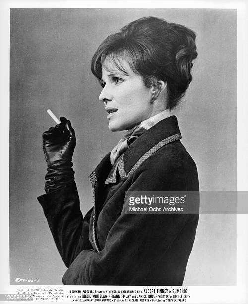 Janice Rule holding a cigarette in a scene from the film 'Gumshoe' 1971