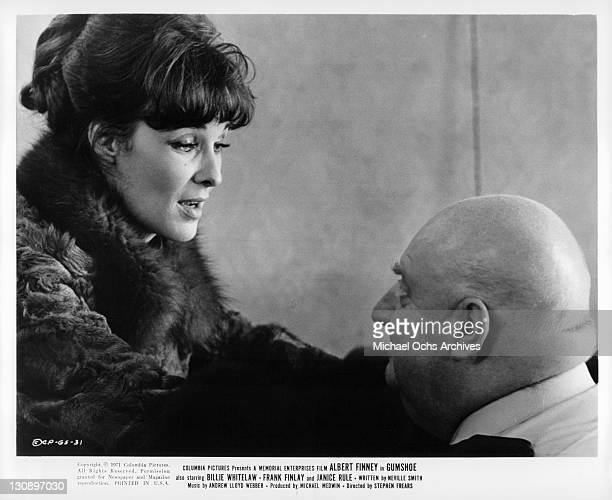 Janice Rule speaks to George Silver in a scene from the film 'Gumshoe' 1971