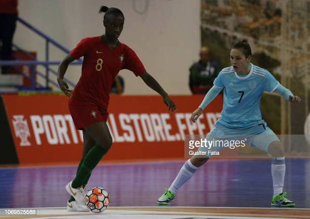 Janice Silva of Portugal with Nikitina of Russia in action during the FUTSAL International match between Portugal and Russia at Pavilhao Municipal da...