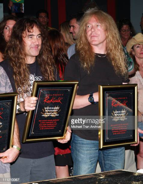 Janick Gers and Steve Harris of Iron Maiden during Iron Maiden Inducted Into Hollywood's RockWalk at Hollywood's RockWalk in Hollywood California...