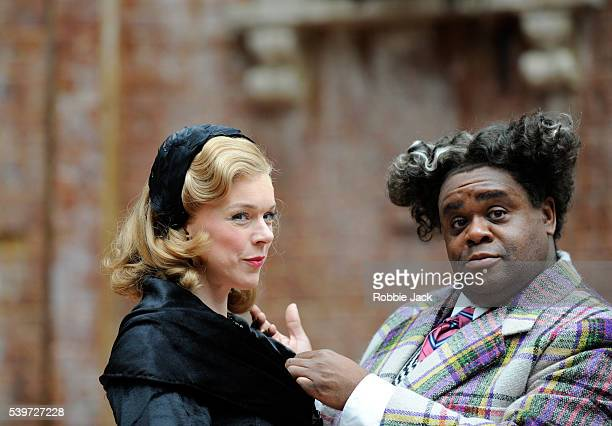 Janie Dee and Clive Rowe perform in the production of William Shakespeare's play Twelfth Night at the Open Air Theatre in Regents Park in London
