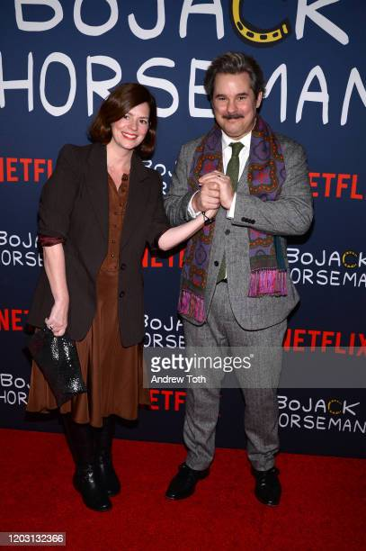 Janie Haddad Tompkins and Paul F Tompkins attend the premiere of Netflix's Bojack Horseman Season 6 at the Egyptian Theatre on January 30 2020 in...