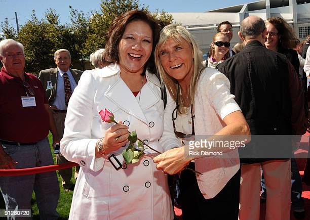 Janie Hendrix and Jett Williams playing Air Rose at the Nashville Music Garden dedication celebration at Hall of Fame Park on September 29 2009 in...