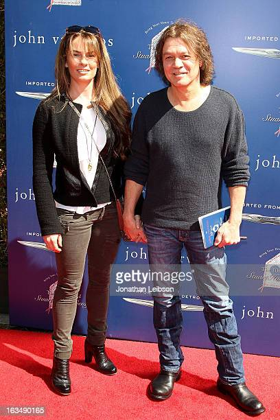 Janie Liszewski and Edward Van Halen attend the John Varvatos 10th Annual Stuart House Benefit at John Varvatos Los Angeles on March 10 2013 in Los...
