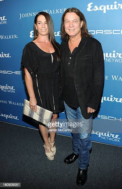 Janie Liszewski and Musician Eddie Van Halen attend the Esquire 80th anniversary and Esquire Network launch celebration at Highline Stages on...