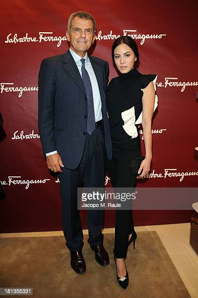 Janie Tienphosuwan and Ferruccio Ferragamo attend the Salvatore Ferragamo Boutique Opening as part of Milan Fashion Week Womenswear Spring/Summer...