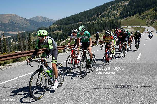 Janier Alexis Acevedo Colle of Columbia riding for Cannondale-Garmin leads the breakaway on the climb of Fremont Pass during stage three of the 2015...