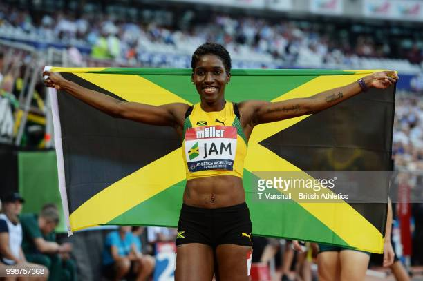 Janieve Russell of Jamaica celebrates winning the Women's 400m Hurdles during day one of the Athletics World Cup London at the London Stadium on July...
