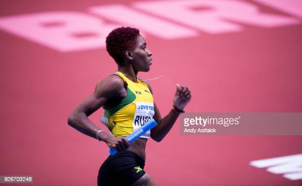 Janieve Russell of Jamaica during the Women's 4x400m Relay on Day 3 of the IAAF World Indoor Championships at Arena Birmingham on March 3 2018 in...